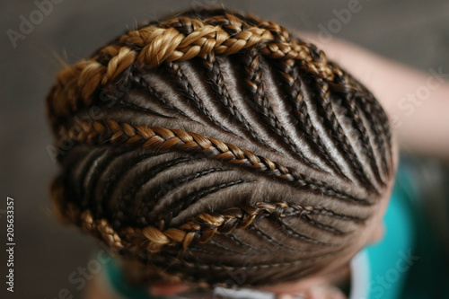 Obraz hairstyles from thin plaits on the head of a girl, a master, a beauty salon, a beauty trail - fototapety do salonu