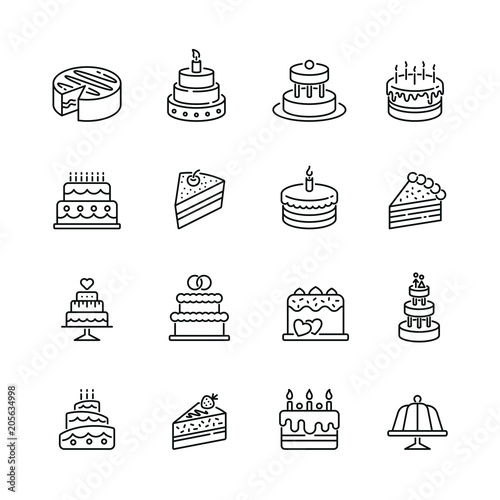 Fotomural  Cakes related icons: thin vector icon set, black and white kit