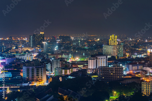 Staande foto Stad gebouw Pattay cityscape view at night, Thailand