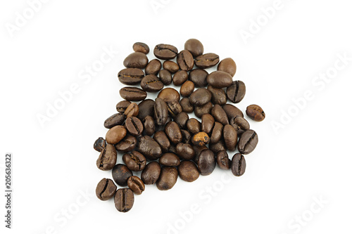 Deurstickers koffiebar Coffee beans isolated on white background with copy space.