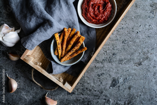 Spiced Tofu fries served with tomato sauce