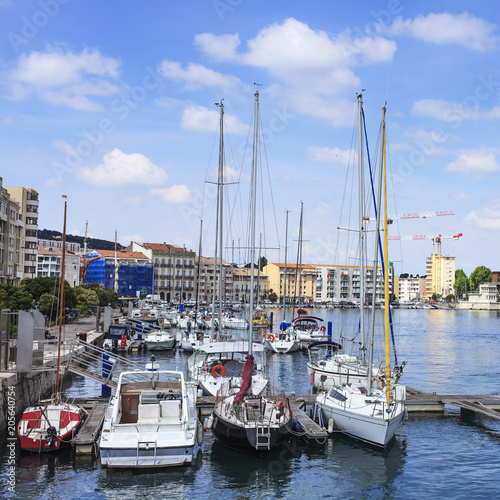 Tuinposter Poort boats in the port of sete