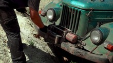 Closeup Using A Winch On A Off Rad Car