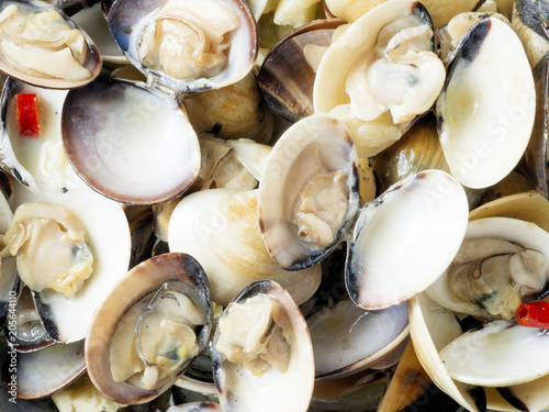Rustic Italian Vongole Clams In White Wine Sauce Food Background