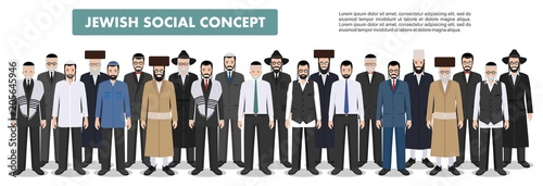 Fototapeta Family and social concept. Group adults old jewish men standing together in different traditional clothes in flat style. Old israel people. Differences Israelis in the national dress. Vector. obraz