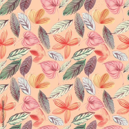 Photo  watercolor seamless floral pattern in high resolution for decor background cover
