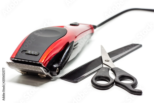 Hair clipper on white background Canvas Print
