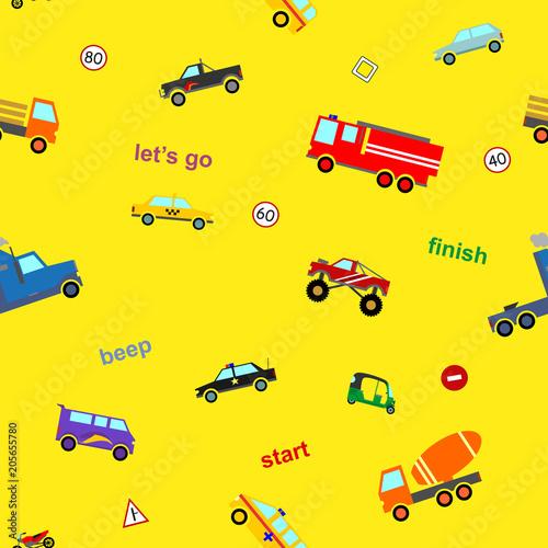 tlo-w-dzieciece-auta-samochodziki-na-zoltym-podkladzie