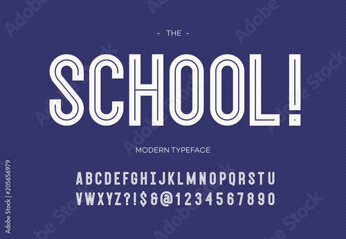 Fototapety, obrazy: School modern font. Alphabet trendy typography bold style white color for party poster, printing on fabric, t shirt, promotion, decoration, stamp, label, special offer. Cool typeface. 10 eps