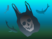 Plastic Bag Underwater. Plastic Pollution Illustration
