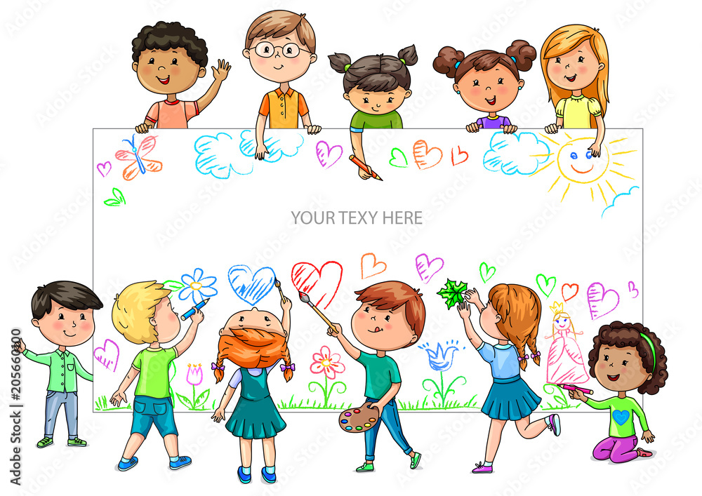 Fototapeta Funny cartoon children of different nationalities hold empty banner for your advertising