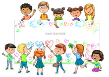 Funny Cartoon Children Of Different Nationalities Hold Empty Banner For Your Advertising