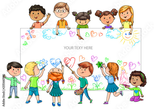 Obraz Funny cartoon children of different nationalities hold empty banner for your advertising - fototapety do salonu