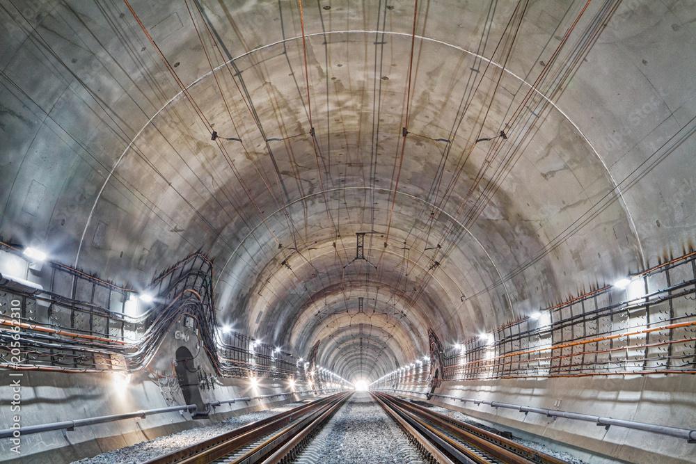 Fototapeta The Beskid tunnel. New railway tunnel in Carpathian mountains, Ukraine