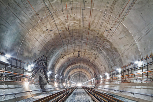The Beskid tunnel. New railway tunnel in Carpathian mountains, Ukraine