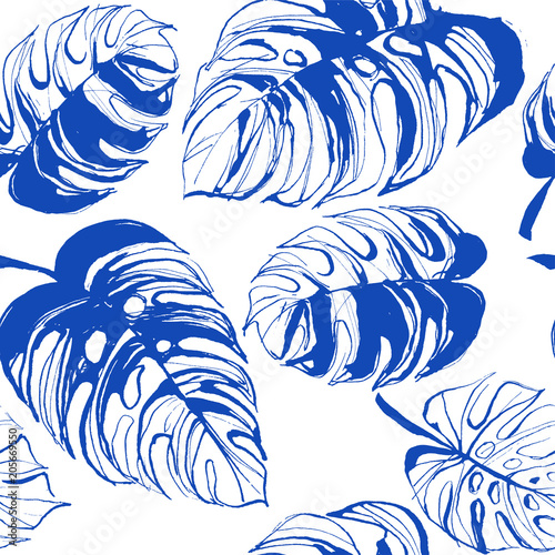 Vector illustration Tropical jungle floral seamless pattern background with palm beach banana monstera leaves. Yellow and blue. Grunge style design textile print, poster, wallpaper and wrapping paper Wall mural