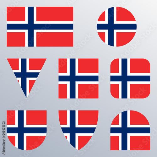 Photo  Norway flag icon set