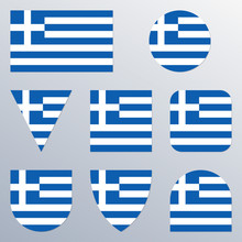 Greece Flag Icon Set. Greek Fl...