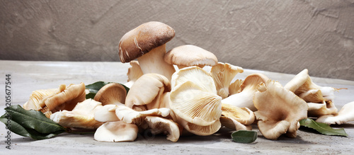 variety of raw mushrooms on grey table Tablou Canvas