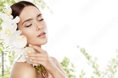 Beauty Skin Care and Face Makeup, Woman Skincare Natural Make Up, Beautiful Model and Orchid Flower, eyes closed