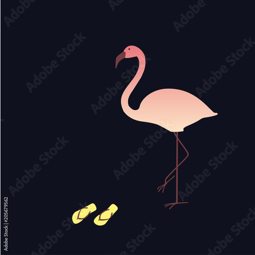 Foto op Aluminium Flamingo Pink flamingo with slate on black background. Perfect for banners, cards, fabric, t-shirts and decor. Vector print with pink flamingo. EPS10