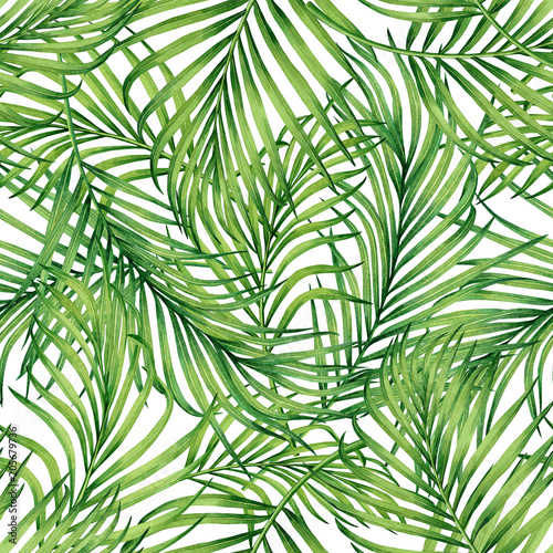 Spoed Fotobehang Tropische Bladeren Watercolor painting coconut,palm leaf,green leave seamless pattern background.Watercolor hand drawn illustration tropical exotic leaf prints for wallpaper,textile Hawaii aloha jungle style pattern.
