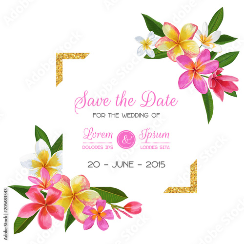 Wedding Invitation Template With Pink Plumeria Flowers Tropical