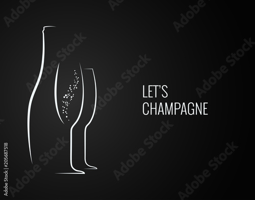 Fotografija champagne bottle and glass silhouette on back backgrond
