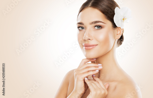 Woman Beauty, Face Skin Care and Natural Make Up, Girl with Orchid Flower in Str Poster