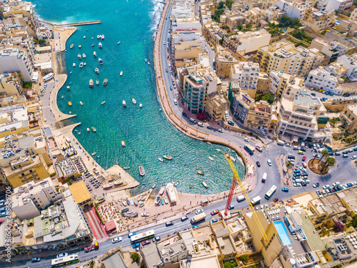 Deurstickers Luchtfoto Beautiful aerial view of the Spinola Bay, St. Julians and Sliema town on Malta.
