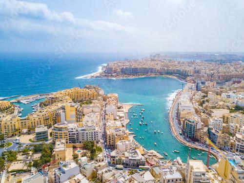 Fototapeta Beautiful aerial view of the Spinola Bay, St. Julians and Sliema town on Malta.  obraz