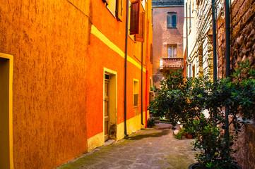 Fototapeta na wymiar the beautiful alley of castelsardo old city