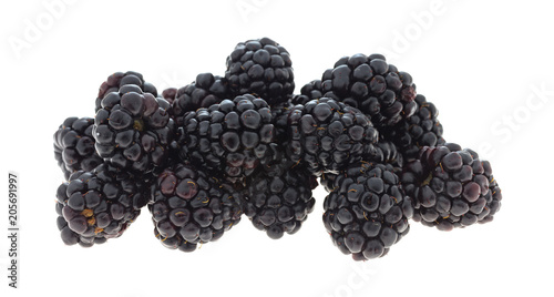 Blackberries on a white background
