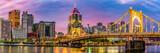 Panorama of the City of Pittsburgh looking from the North Shore in the early morning.