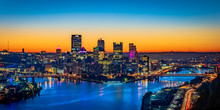 Panorama Of The City Of Pittsburgh From The West End Overlook Park In The Early Morning Hours