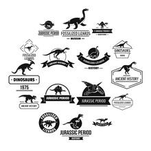Dinosaur Logo Icons Set. Simple Illustration Of 16 Dinosaur Logo Vector Icons For Web