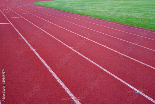 red outdoor running track in sport field