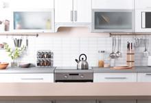 Stylish Kitchen Interior In Apartment. Idea For Home Design