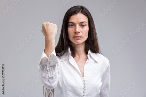 focus on the FIST of a stern woman Canvas Print