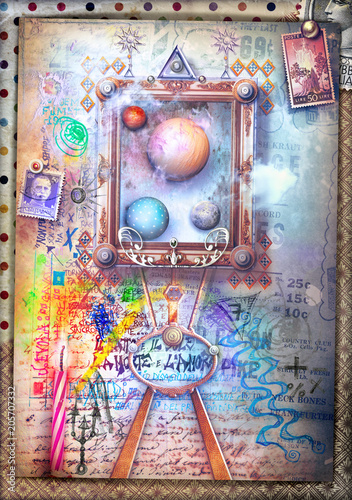 Poster Imagination Street art. Mural and graffiti with window-frame on dreams and imagination