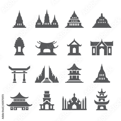 Asia Temple icon set Wall mural