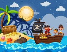 Pirate And Children Finding Treasure