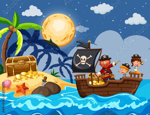 Obraz na plátně Pirate and Children Finding Treasure