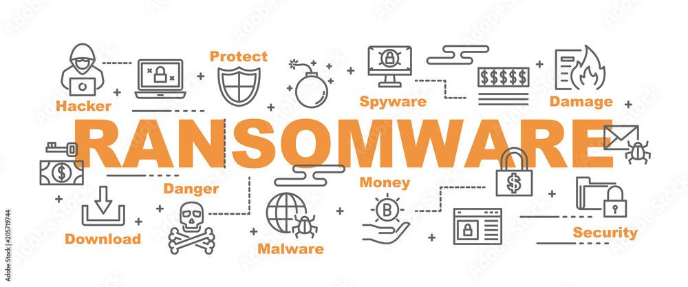 Fototapeta ransomware vector banner