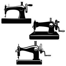 Set Of Sewing Machine Illustrations. Design Element For Poster, Card, Logo, Emblem, Sign.