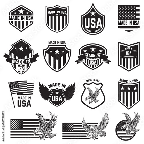 Set of emblems with USA signs Tableau sur Toile