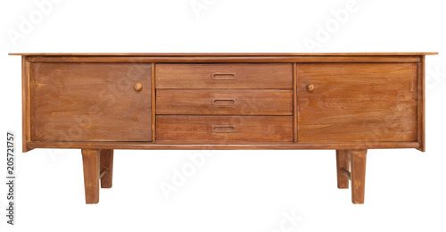 Fotografia, Obraz  Wooden sideboard isolate is on white background with clipping path