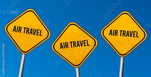 Fotografie, Obraz  air travel - yellow sign with blue sky