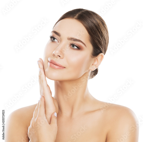 Fotografie, Tablou  Face Beauty Skin Care, Woman Natural Make Up, Girl Skincare Isolated over White