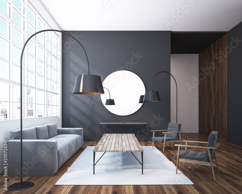 Fotobehang Wintersporten Gray living room with a round mirror